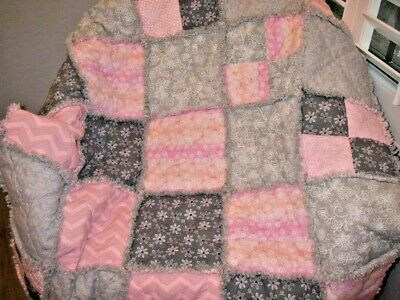 ~Boutique ~ Baby Girl Rag Quilt~Pink ~Gray~Butterflies & flowers~