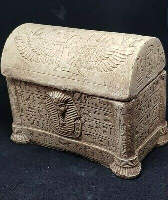 Nice Old Antique Egyptian Hand Carved Stone Safebox