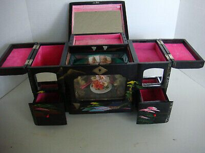 vintage Black Lacquered chinese Jewelry cabinet with musi Box Spinning ballerina