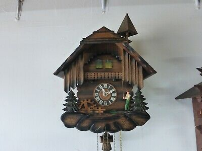 Hubert Herr Bell Ringer Black Forest Cuckoo Clock Reuge Musical 3 WT Wagon Wheel