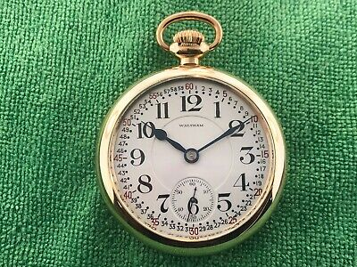 Vintage Waltham Pocket Watch Two Tone Movement Montgomery Dial