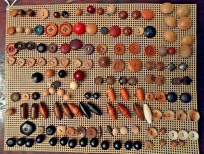 Vintage wooden button collection lot of 140 + wood old unusual shapes