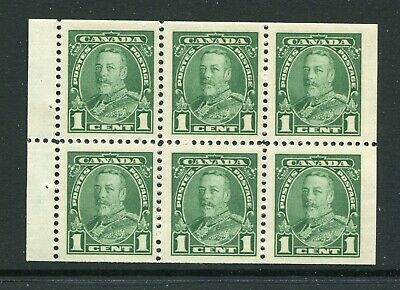 CANADA Scott 217b - NH - 1¢ Green George V Pictorial Booklet Pane of 6 (.048)