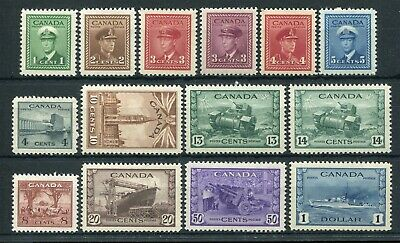 CANADA Scott 249 to 262 - M/H - Complete Set King George VI War Issue (.089)