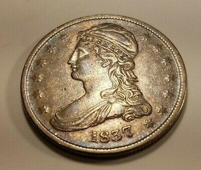 1837 REEDED EDGE (50 CENTS REVERSE) CAPPED BUST 1/2 DOLLAR nice coin
