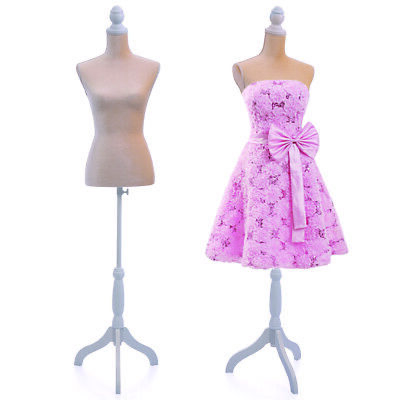 Female Mannequin Torso Clothing Dress Form Display Tripod Stand Beige New