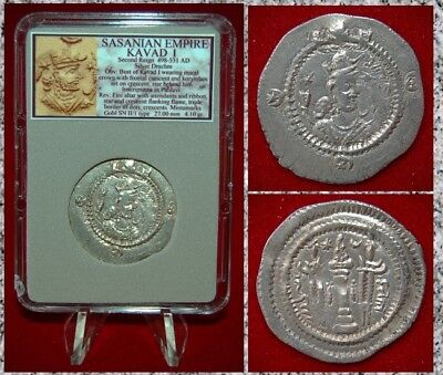 Ancient Coin SASSANIAN EMPIRE KAVAD I Fire Altar Second Reign Silver Drachm
