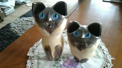 Australian pottery schaer *two *Blue Eyed Cats figurines