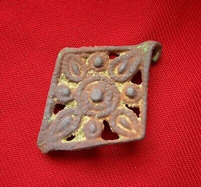 Ancient Celtic bronze amulet - pendant in form of Sun 42 mm . circa 100 BC.