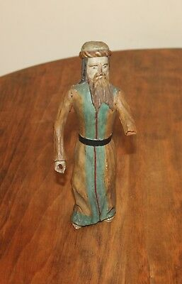 "Carved Wood Figure Man with Beard Old Testament Prophet,Nobleman 8""Painted"