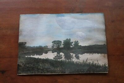Antique Painting English Landscape School Constable Tempera Gouache 8 X 5 3/4""