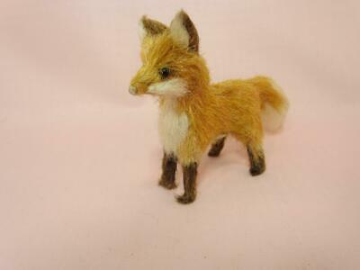 *Vintage Miniature Fur Fox - Glass Eyes - Original Japan Label