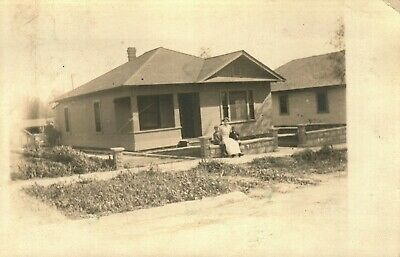 House In Burbank, California  1913 Real Photo Vintage Postcard  Stamp 1913
