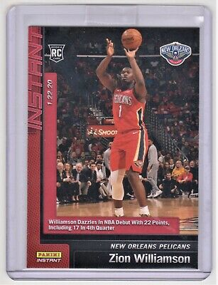 2020 Panini Instant Zion Williamson Pelicans Nba Debut Rc Rookie Card #76 So!