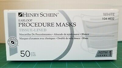 Henry Schein Earloop Procedure Masks Tissue-Lined ASTM Level 1 White 104-4632