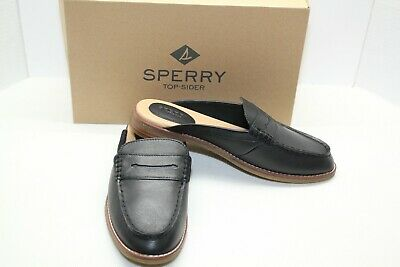 MSRP $100 Sperry Women/'s Seaport Royal Slip-On Loafers Black Leather