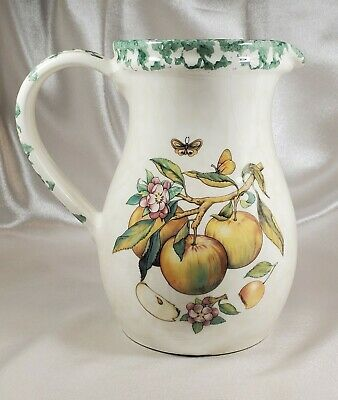 Vintage Himark Made in Italy Water Pitcher Hand Painted Apples