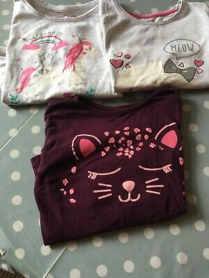 3x Girls Long Sleeve Tops, Primark Cats & Unicorn 5 To 6 Years