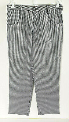 Chef Pants Black White Check Tall Size 85cms Zip and Button NWOT