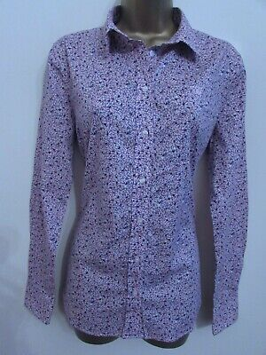 Gant Ladies Pink Blue White Floral Long Sleeved Button Front Shirt Top Size 16