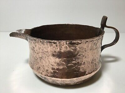 Antique Arts And Crafts Hammered Pot Planter Jug Rounded Bottom Handle.
