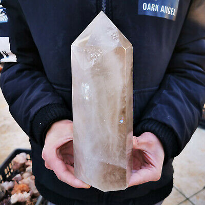 5.4LB Natural Smokey Quartz Obelisk Crystal Wand Point Healing