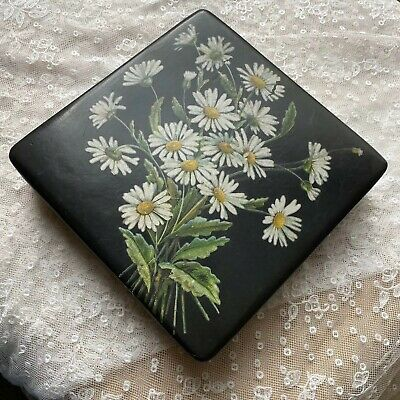 Antique Paper Box Lacquered Handkerchief Black Chinese 1920s 1930s Stationery