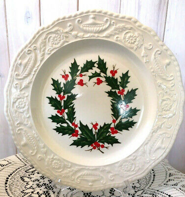 """Lot-3 Canonsburg Pottery 10"""" Holiday Dinner Plates-Holly/Berries-Adam Antique"""