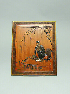Antique Japanese Meiji period wood and lacquer pannel