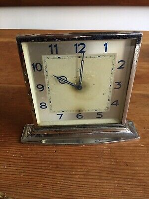 Lovely Art Deco Chrome Small Mantle Clock