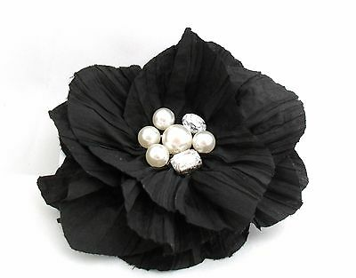 Black Crinkle Fabric Flower Fascinator Hair Clip Corsage with Jewelled Centre