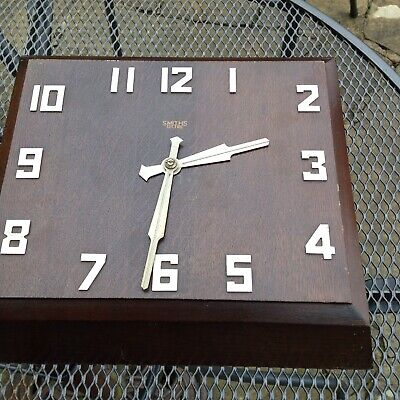 Large Vintage Art Deco Smiths Sectric  Oak Wall Clock Fully Working
