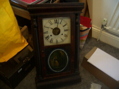 Antique American Wall Clock Untested For Working Order Spares Or Repairs