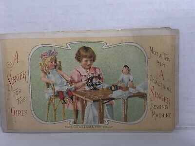A Singer For The Girls Sewing Machine Trade Card Pamphlet