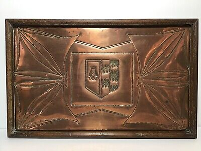Arts And Crafts Large Wall Plaque Or Tray Copper Crafted Wood Surround