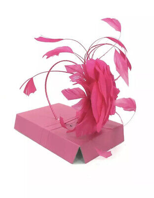 JACQUES VERT Bright Pink Rose Feather Fascinator Headband Occasion £79 WEDDING