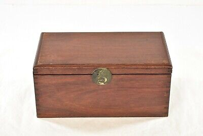 Antique Chinese Red Wooden Jewelry Box with Brass Hardware