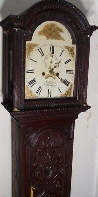 "Antique Carved Oak "" Callington ""  Eight  Day   Longcase / Grandfather  Clock"