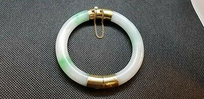 Vintage 14k Gold Natural Jadeite Bangle