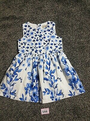 Baby Girls Blue And White Flora Short Sleeved Dress From Next Age 12-18 Months