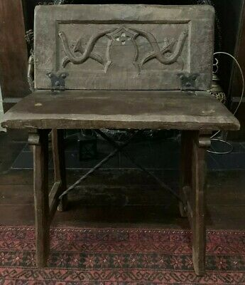 Antique French Arts And Crafts Gothic Oak Bench Chair,Absolutely Stunning/Rare !