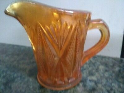 Vintage Orange Carnival Glass Small Cream / Milk Jug Great Condition 8.5cm Tall