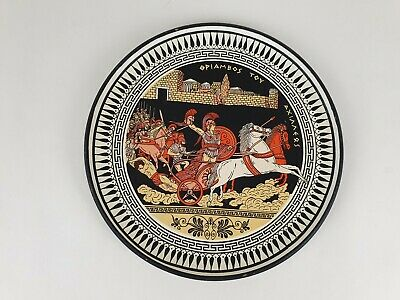Vintage Greek Piambos Tov Axinners Achilles Hector Troy Ceramic Hanging Plate