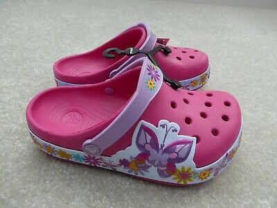 Crocs Junior Girl's Pink Butterfly Crocband Clogs Size 3 BNWT