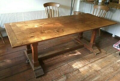 Large English Oak Dining Table, 1930's Family Made, Antique Dining Room Table,