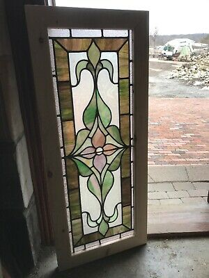 SG3267 Antique stained and textured glass transom window 18.75 x 45