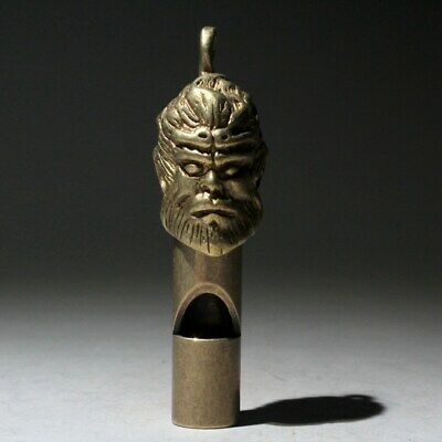 AAA Collectable China Old Copper Handwork Carve Myth Monkey King Whistle Pendant