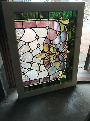 SG 3269 Antique stained and jeweled Landing Window 27.5 x 35.5