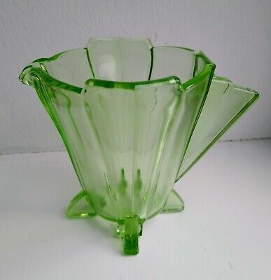 Art Deco Green Glass Milk Cream Jug Vintage - Uranium Glass?