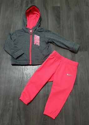 NIKE BABY GIRLS TRACKSUIT 18 Months (12-18) GREY,PINK,FLEECE,SET,ZIP UP,BOTTOMS
